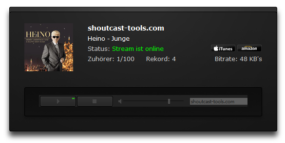 Streambox Webplayer mit Album Cover